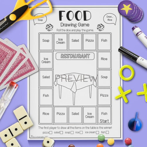 ESL English Kids Food Drawing Game Worksheet