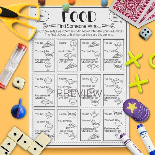 ESL English Kids Food Find Someone Who Game Worksheet