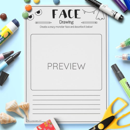 ESL English Kids Face Monster Drawing Worksheet