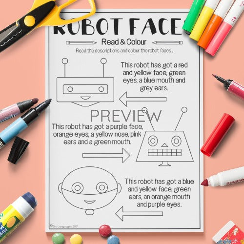 ESL English Kids Face Robot Faces Worksheet