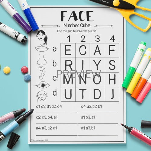 ESL English Kids Face Number Cube Worksheet