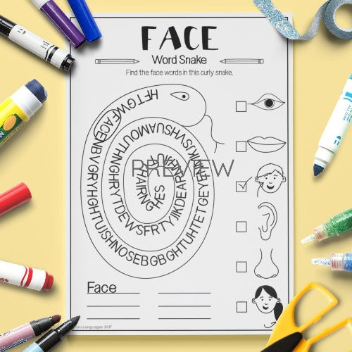 ESL English Kids Face Word Snake Worksheet