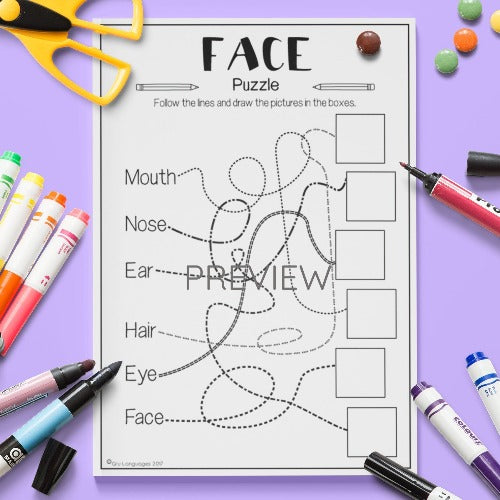 ESL English Kids Face Puzzle Worksheet