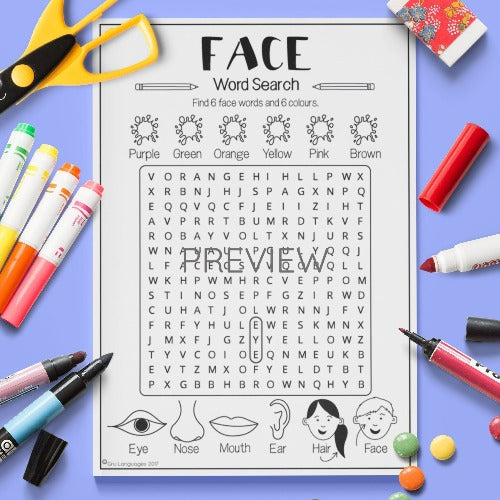 ESL English Kids Face Word Search Worksheet