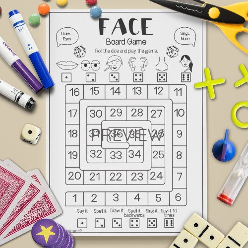 ESL English Kids Face Sentence Board Game Worksheet
