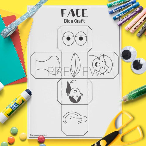 ESL English Face Dice Craft Activity Worksheet