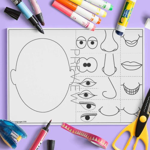 ESL English Face Mix and Match Craft Activity Worksheet