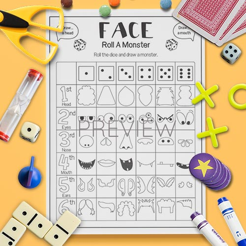 ESL English Roll A Monster Face Game Worksheet