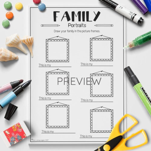 ESL English Kids Family Portraits Worksheet
