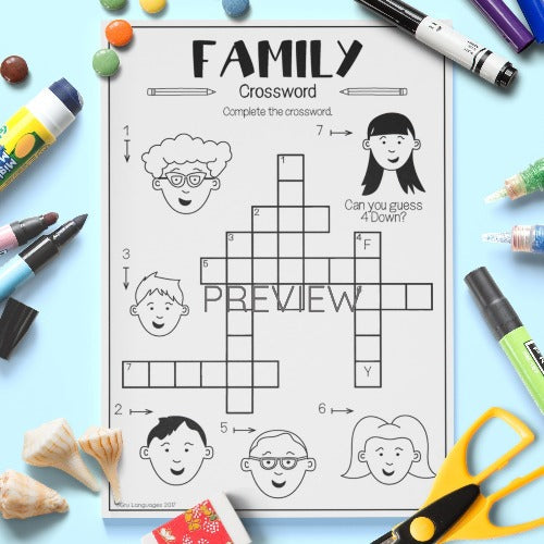 ESL English Kids Family Crossword Worksheet