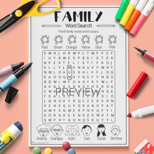 ESL English Kids Family Word Search Worksheet
