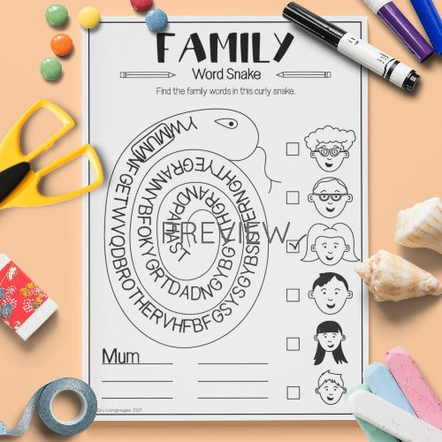 ESL English Kids Family Word Snake Worksheet