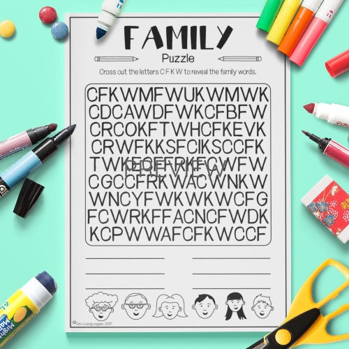 ESL English Kids Family Letter Puzzle Worksheet