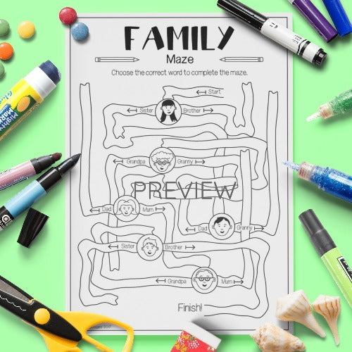 ESL English Kids Family Maze Worksheet
