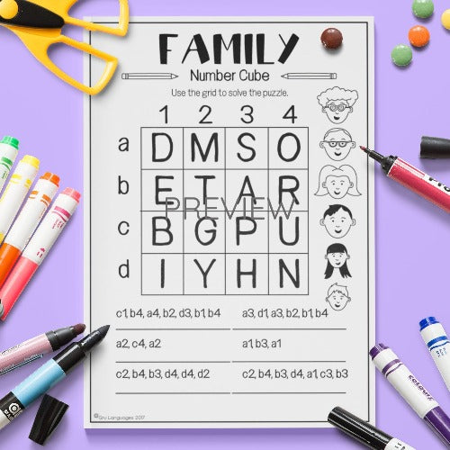 ESL English Kids Family Number Cube Worksheet
