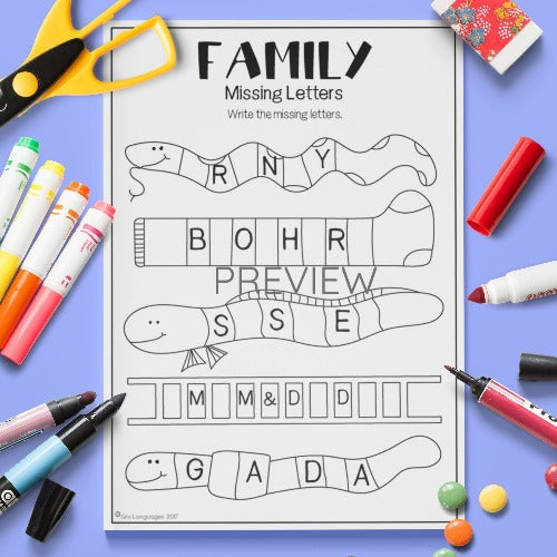 ESL English Kids Family Missing Letters Worksheet