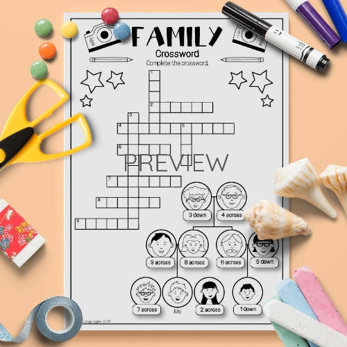 ESL English Kids Level 4 Family Crossword Activity Worksheet