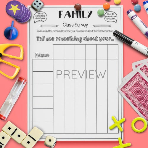 ESL English Kids Family Survey Class Speaking Activity Worksheet