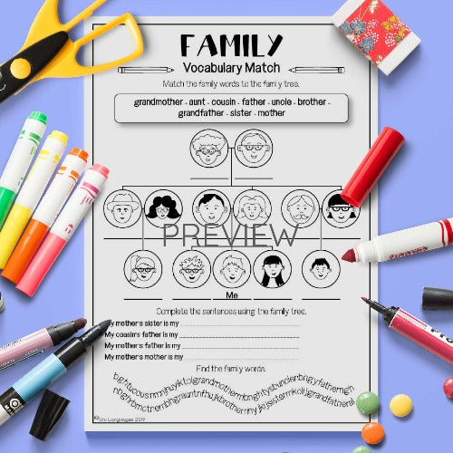 ESL English Kids Level 4 Family Vocabulary Match Activity Worksheet