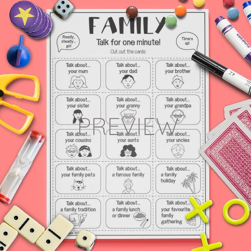ESL English Kids Family Talk For A Minute Cards Worksheet