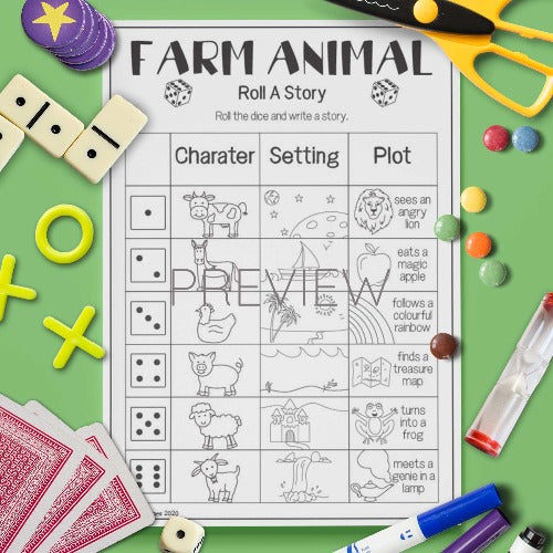 ESL English Farm Animal Roll A Story Game Worksheet