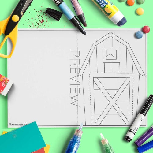 ESL English Farmhouse Craft Activity Worksheet