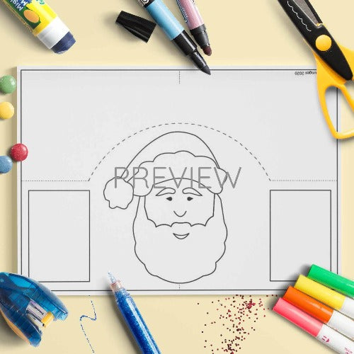 ESL English Kids Father Christmas Face Craft Activity Worksheet