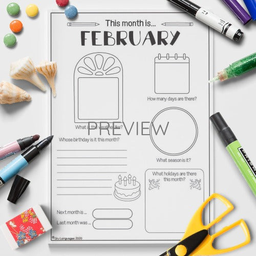 ESL English The Month Of February Activity Worksheet