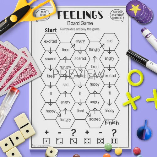 ESL English Kids Feelings Board Game Speaking Activity Worksheet