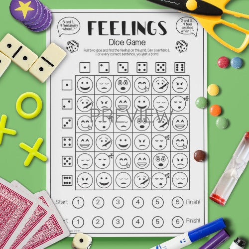 ESL English Kids Feelings Dice Game Worksheet