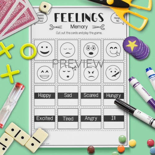 ESL English Kids Feelings Memory Vocabulary Speaking Game Worksheet