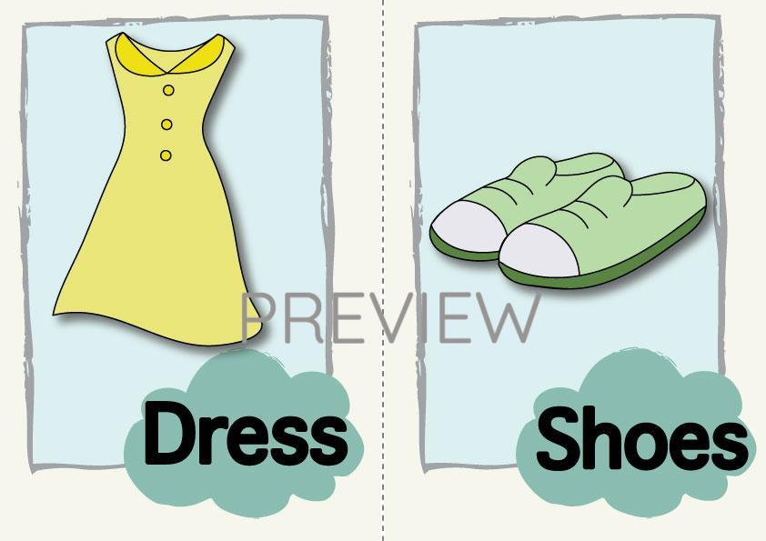 Dress and Shoes Flashcard
