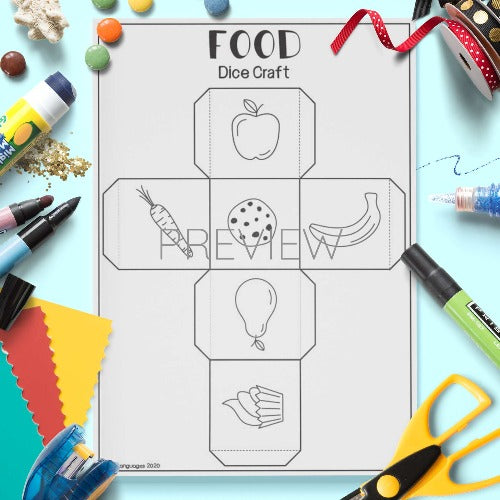 ESL English Food Dice Craft Activity Worksheet
