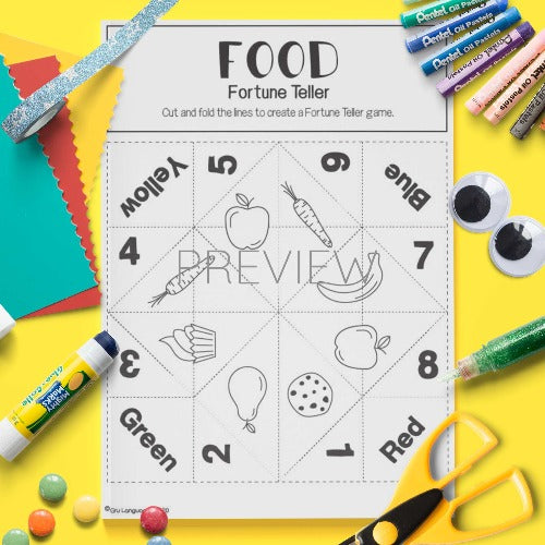 ESL English Food Fortune Teller Craft Activity Worksheet