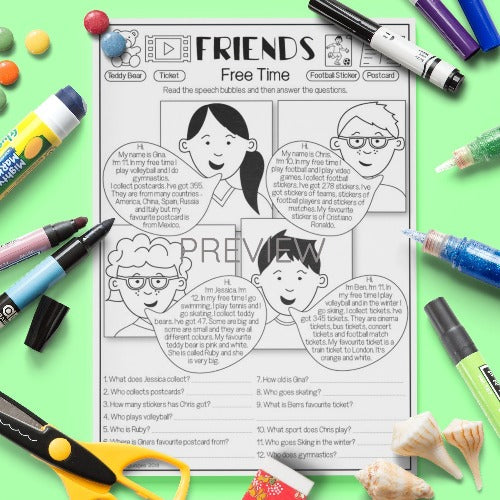ESL English Kids Friends Free Time Worksheet