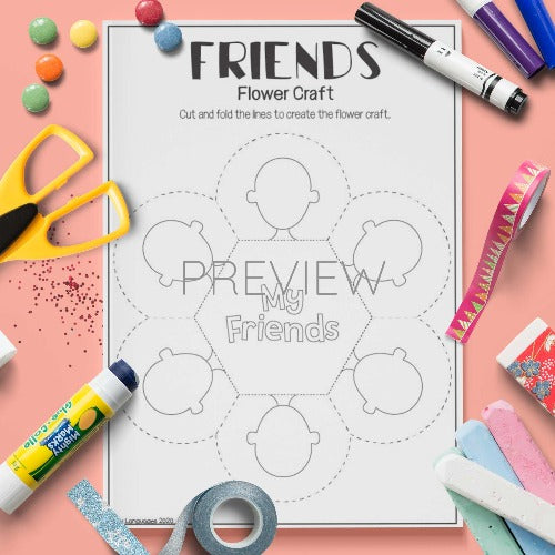 ESL English My Friends Flower Craft Activity Worksheet
