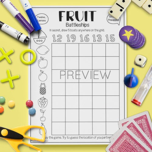 ESL English Kids Fruit Battleships Speaking Game Worksheet