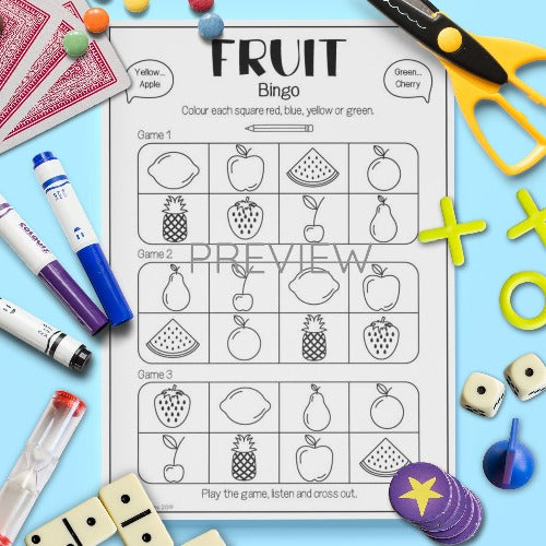 ESL English Kids Fruit Bingo Game Worksheet