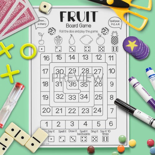 ESL English Kids Fruit Board Game Worksheet