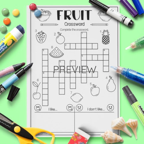 ESL English Kids Fruit Crossword Activity Worksheet