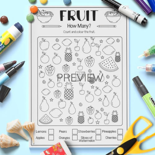 ESL English Kids Fruit How Many Activity Worksheet