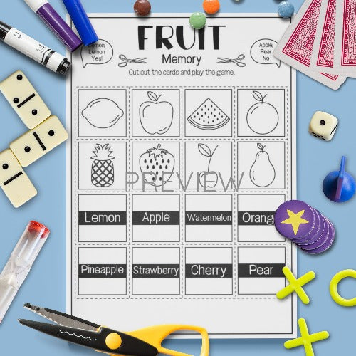 ESL English Kids Fruit Memory Speaking Game Worksheet