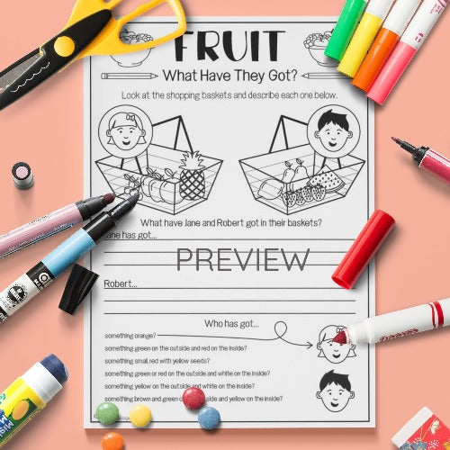 ESL English Kids Fruit What Have They Got? Activity Worksheet