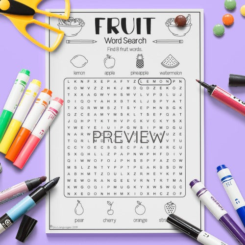 ESL English Kids Fruit Word Search Activity Worksheet