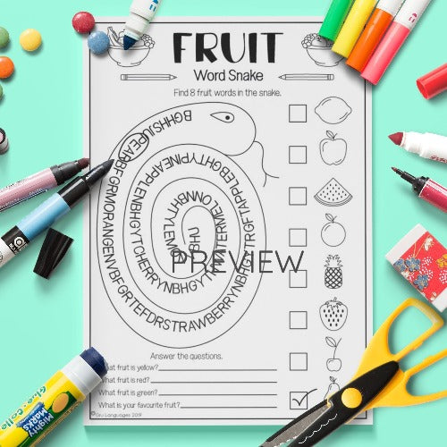 ESL English Kids Fruit Word Snake Activity Worksheet