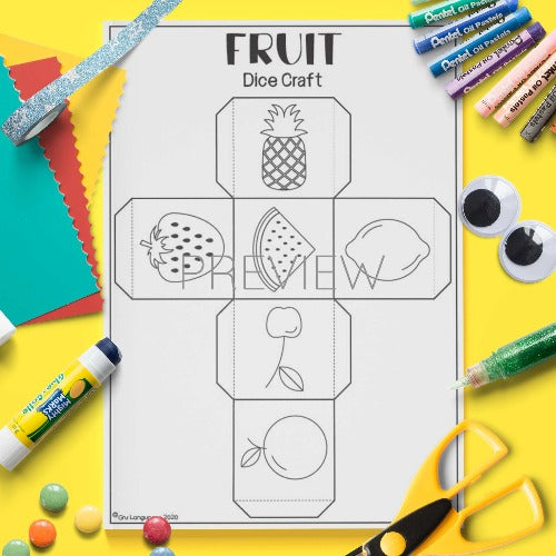 ESL English Fruit Dice Craft Activity Worksheet