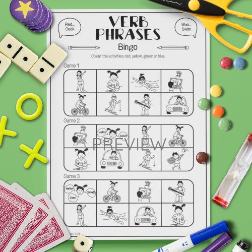 ESL English Kids Verbs Bingo Game Worksheet