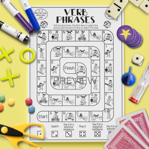 ESL English Kids Verbs Board Game Worksheet