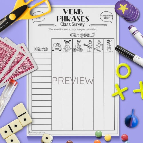 ESL English Kids Verbs Class Survey Worksheet