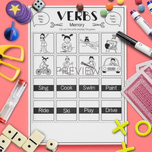 ESL English Kids Verbs Memory Game Worksheet
